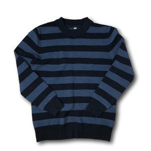H&M Mens' Ribbed Scoop Neck Striped Sweater